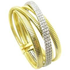 Georgios Collections 18 Karat White and Yellow Gold Diamond Bangle Bracelet