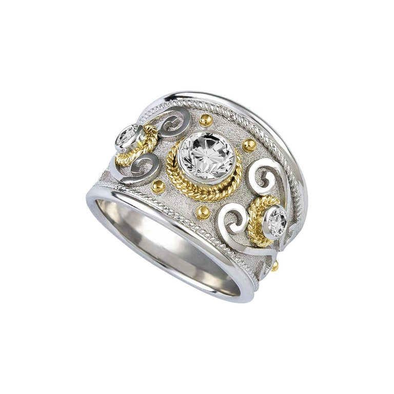 Byzantine Georgios Collections 18 Karat White and Yellow Gold Diamond Granulated Ring For Sale
