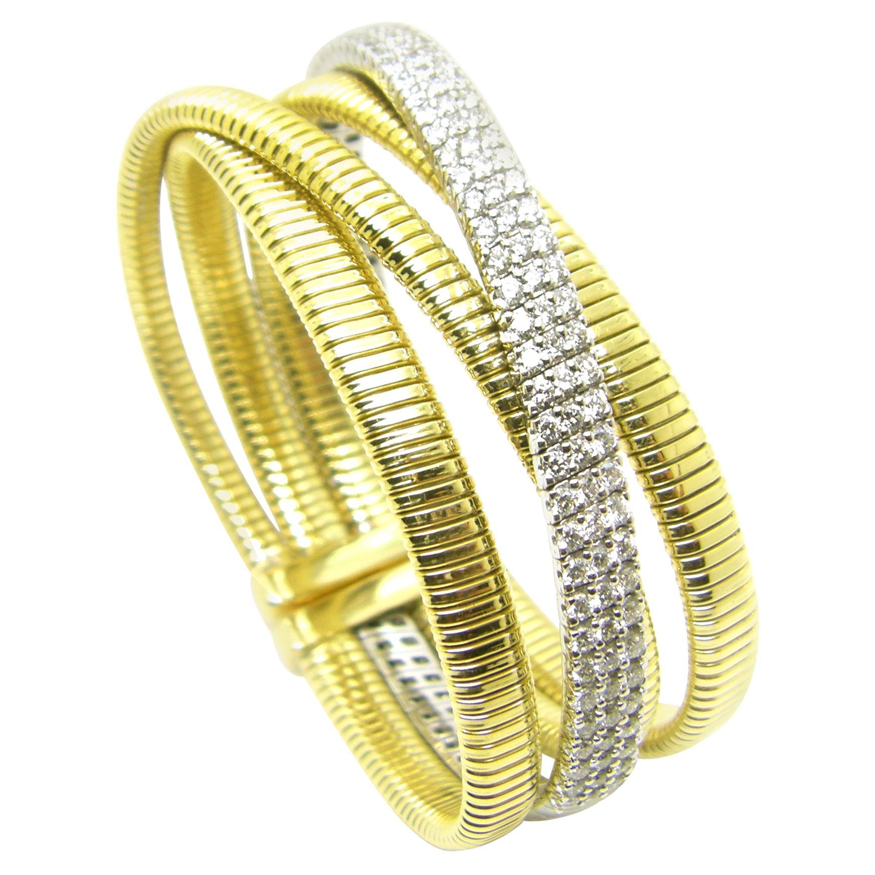 Georgios Collections 18 Karat White and Yellow Gold Diamond Cuff Bangle Bracelet