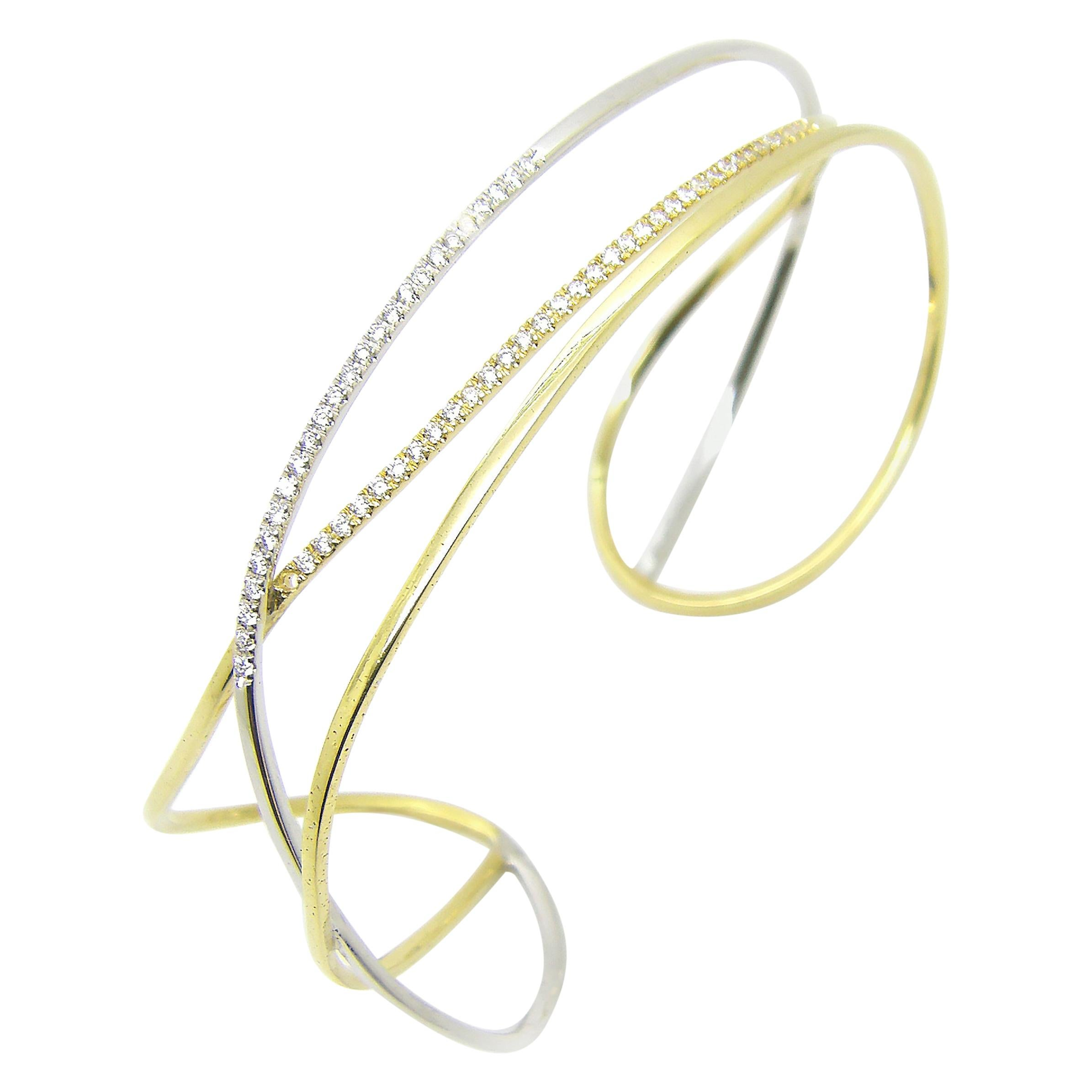 Georgios Collections 18 Karat White and Yellow Gold Diamond Cuff Bracelet