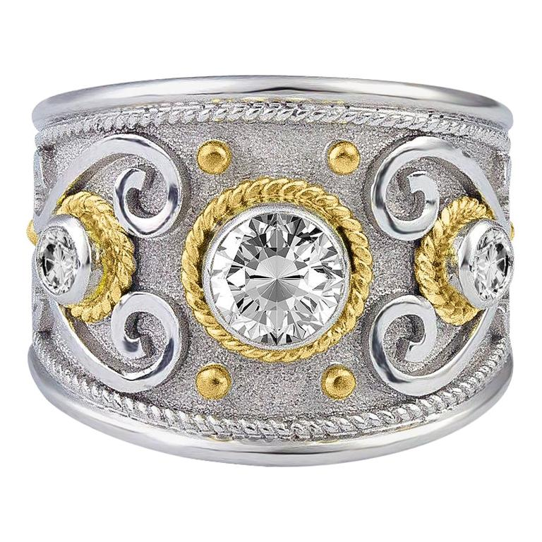 Georgios Collections 18 Karat White and Yellow Gold Diamond Granulated Band Ring