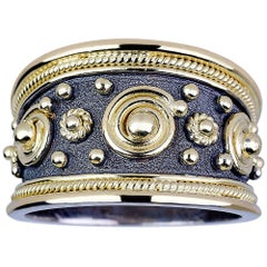 Georgios Collections 18 Karat White and Yellow Gold Two-Tone Wide Band Ring