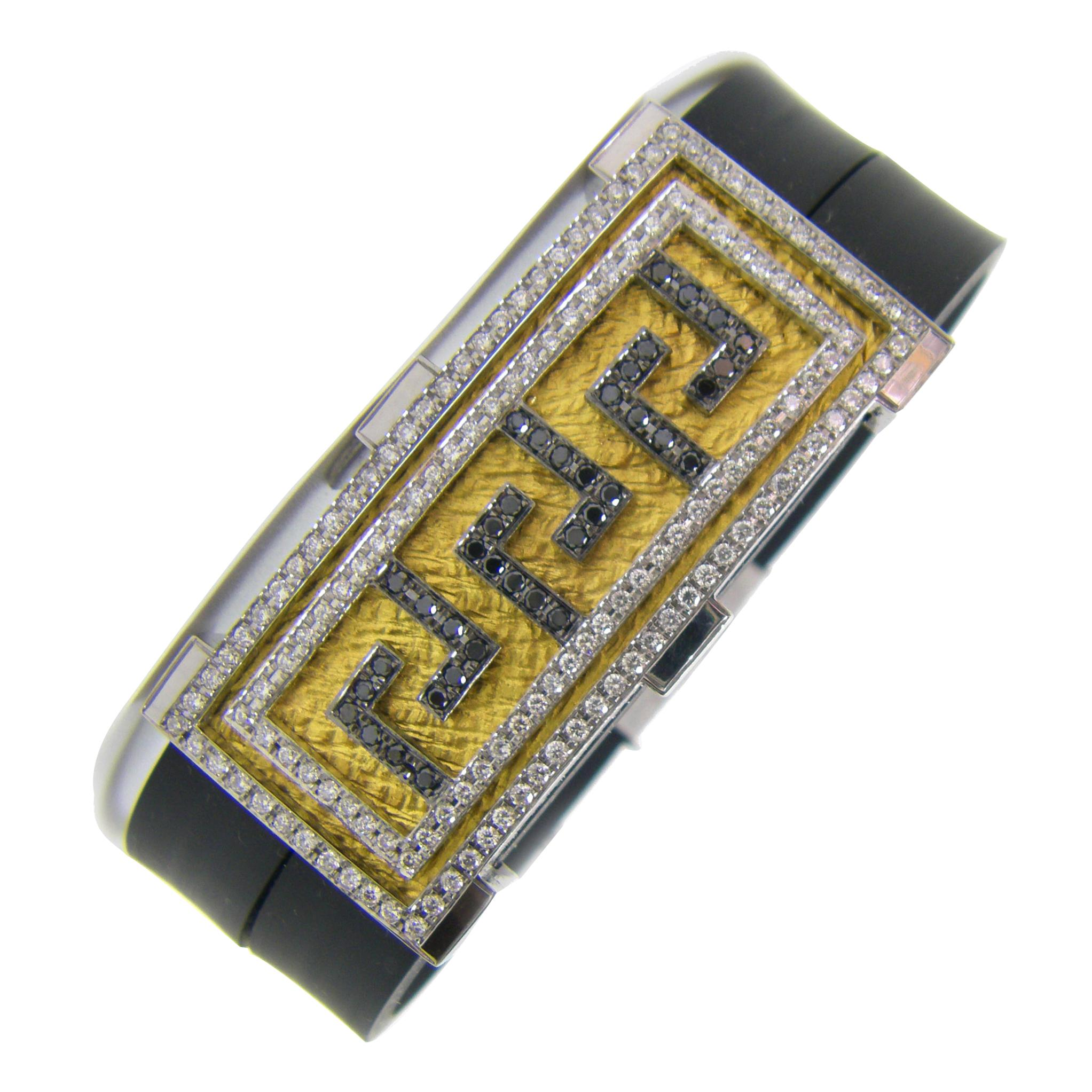 Georgios Collections 18 Karat White Gold and Black Brown White Diamond Bracelet
