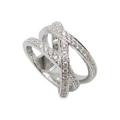 Georgios Collections 18 Karat White Gold and Three Row White Wide Diamond Ring
