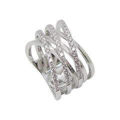Georgios Collections 18 Karat White Gold and White Diamond Wide Band Ring