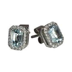 Georgios Collections 18 Karat White Gold Aquamarine and Diamond Stud Earrings