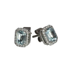 Georgios Collections 18 Karat White Gold Aquamarine and Diamond Stud Earrings