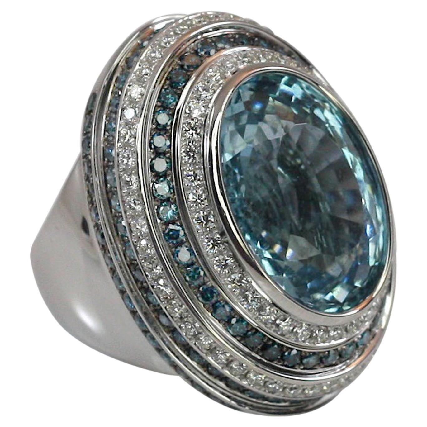 Georgios Collections 18 Karat White Gold Aquamarine Blue and White Diamond Ring
