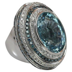Georgios Collections 18 Karat White Gold Aquamarine Blue and White Diamond Ring