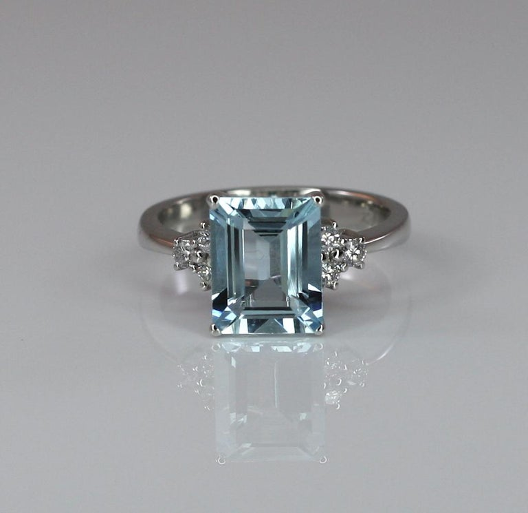 Georgios Collections 18 Karat White Gold Aquamarine Solitaire Ring with Diamonds For Sale 4
