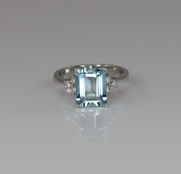 Georgios Collections 18 Karat White Gold Aquamarine Solitaire Ring with Diamonds For Sale 5