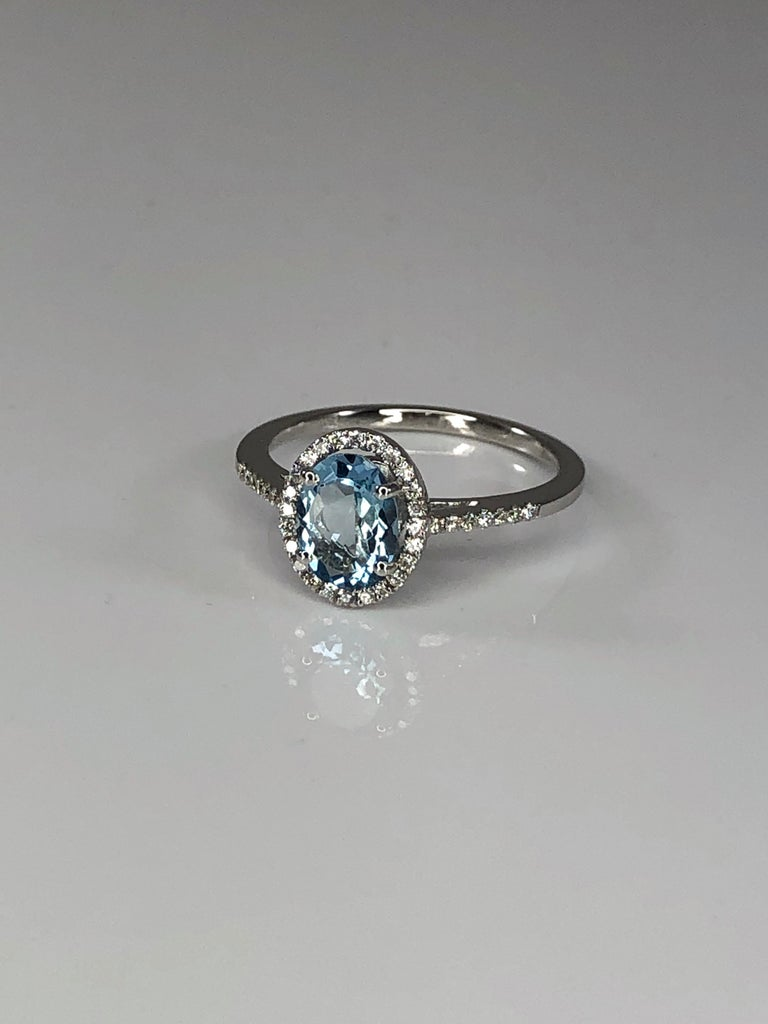 Contemporary Georgios Collections 18 Karat White Gold Aquamarine Solitaire Ring with Diamonds For Sale