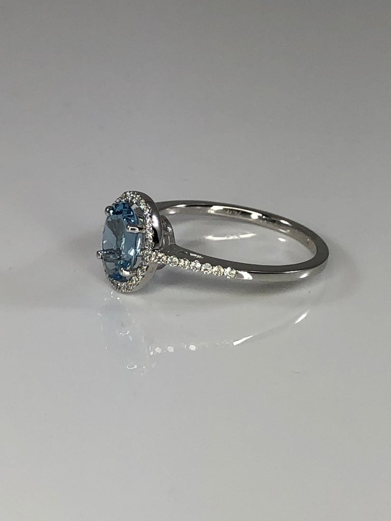 Emerald Cut Georgios Collections 18 Karat White Gold Aquamarine Solitaire Ring with Diamonds For Sale