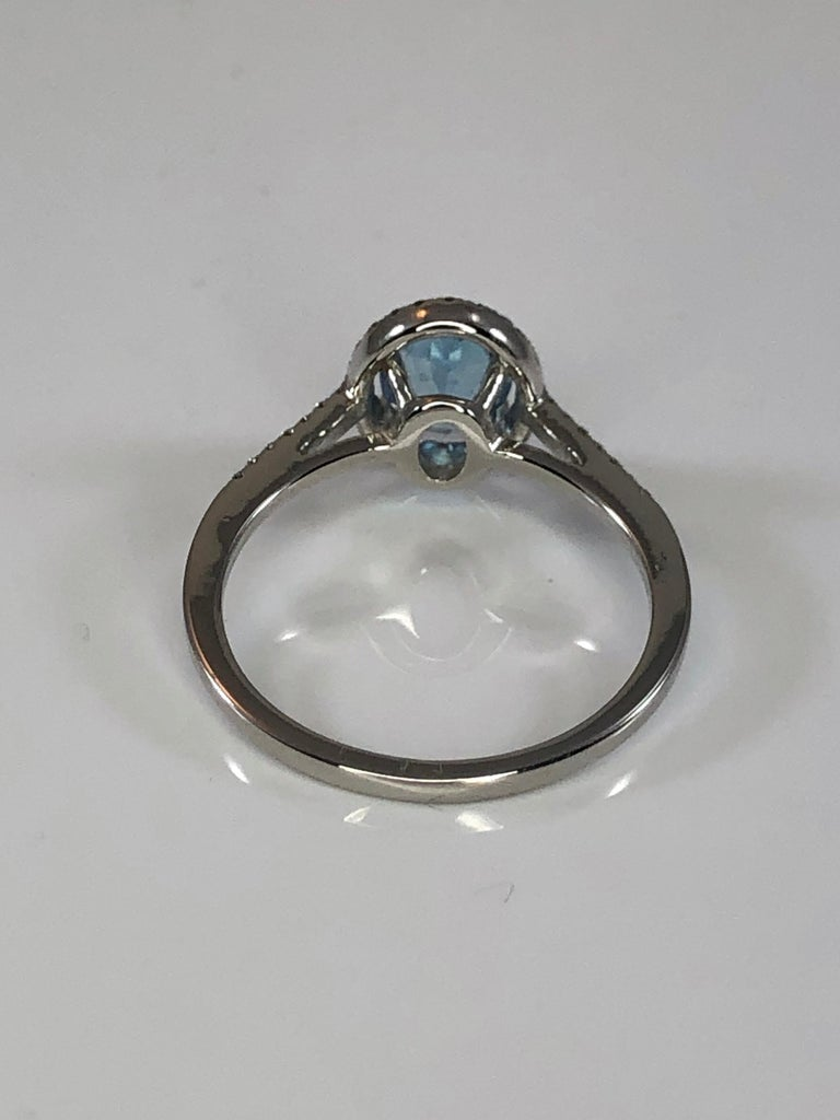 Women's Georgios Collections 18 Karat White Gold Aquamarine Solitaire Ring with Diamonds For Sale