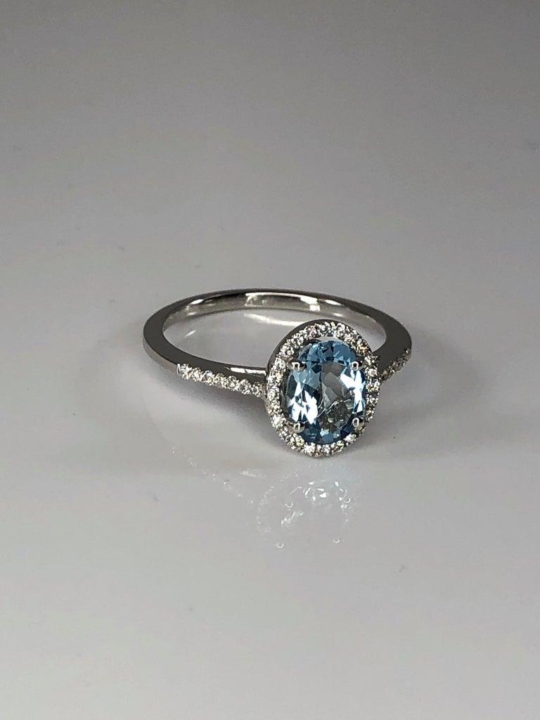 Georgios Collections 18 Karat White Gold Aquamarine Solitaire Ring with Diamonds For Sale 1
