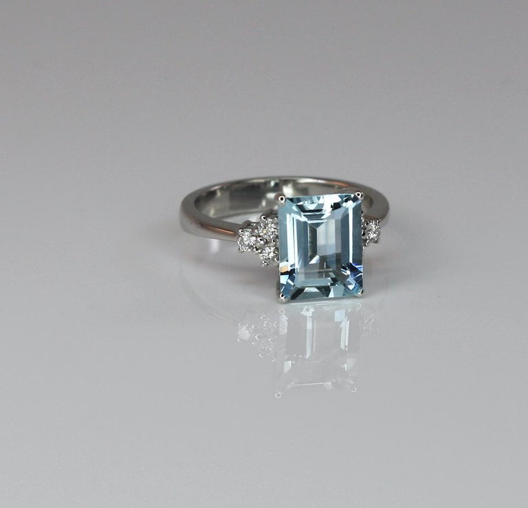 Georgios Collections 18 Karat White Gold Aquamarine Solitaire Ring with Diamonds For Sale 2