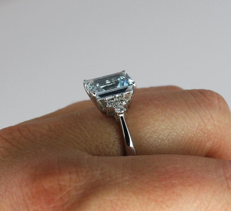 Georgios Collections 18 Karat White Gold Aquamarine Solitaire Ring with Diamonds For Sale 3
