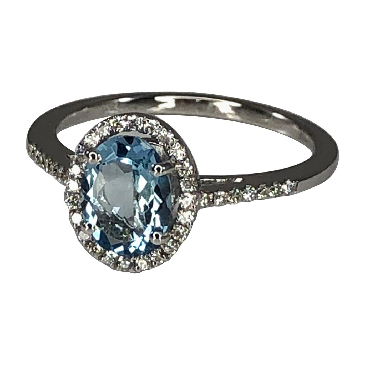 Georgios Collections 18 Karat White Gold Aquamarine Solitaire Ring with Diamonds