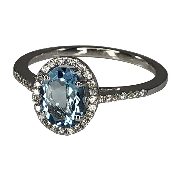 Georgios Collections 18 Karat White Gold Aquamarine Solitaire Ring with Diamonds For Sale