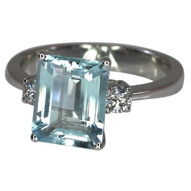 Georgios Collections 18 Karat White Gold Aquamarine and Diamond Solitaire Ring