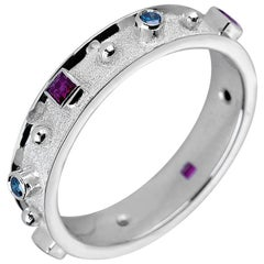 Georgios Collections 18 Karat White Gold Band Ring with Rubies and Blue Diamonds