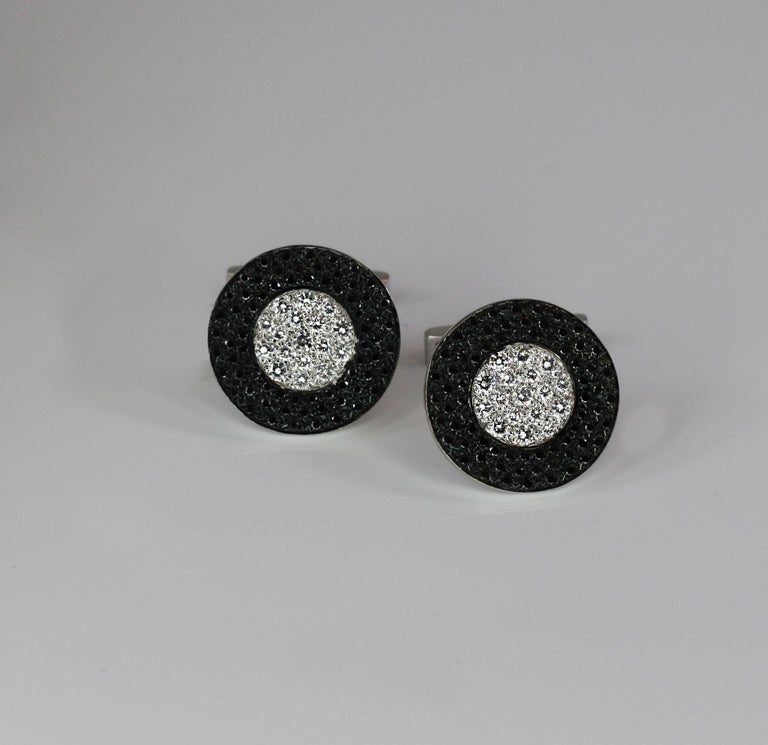 S.Georgios designer cufflinks handcrafted in Greece from 18 Karat white gold and decorated with 1.02 Carat brilliant cut white diamonds and 1.56 Carat brilliant cut black diamonds.  These gorgeous pieces can be also ordered in all Yellow or Rose