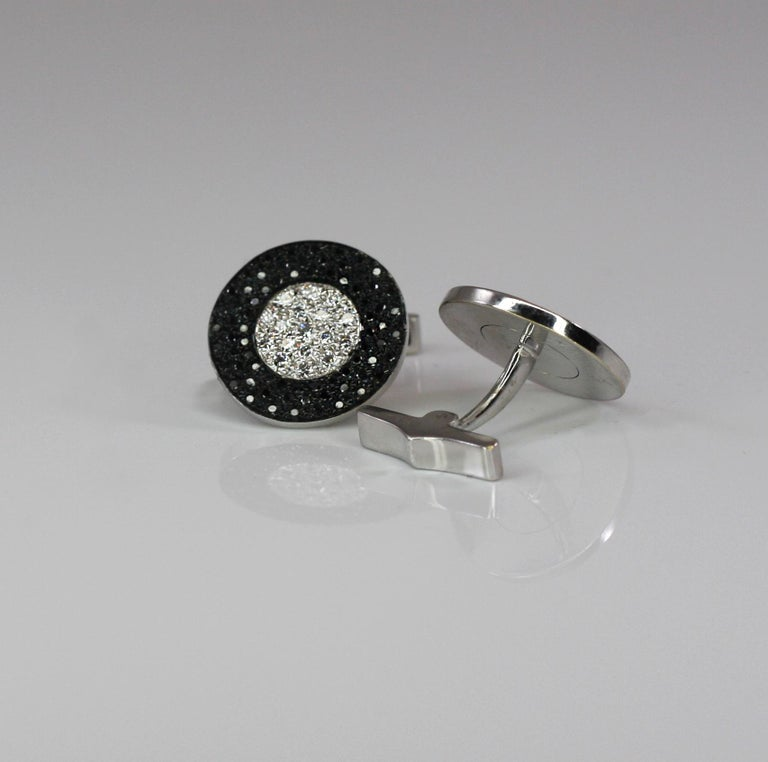 Georgios Collections 18 Karat White Gold Black and White Diamond Cufflinks For Sale 1