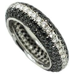 Georgios Collections 18 Karat White Gold Black and White Diamond Two-Tone Ring