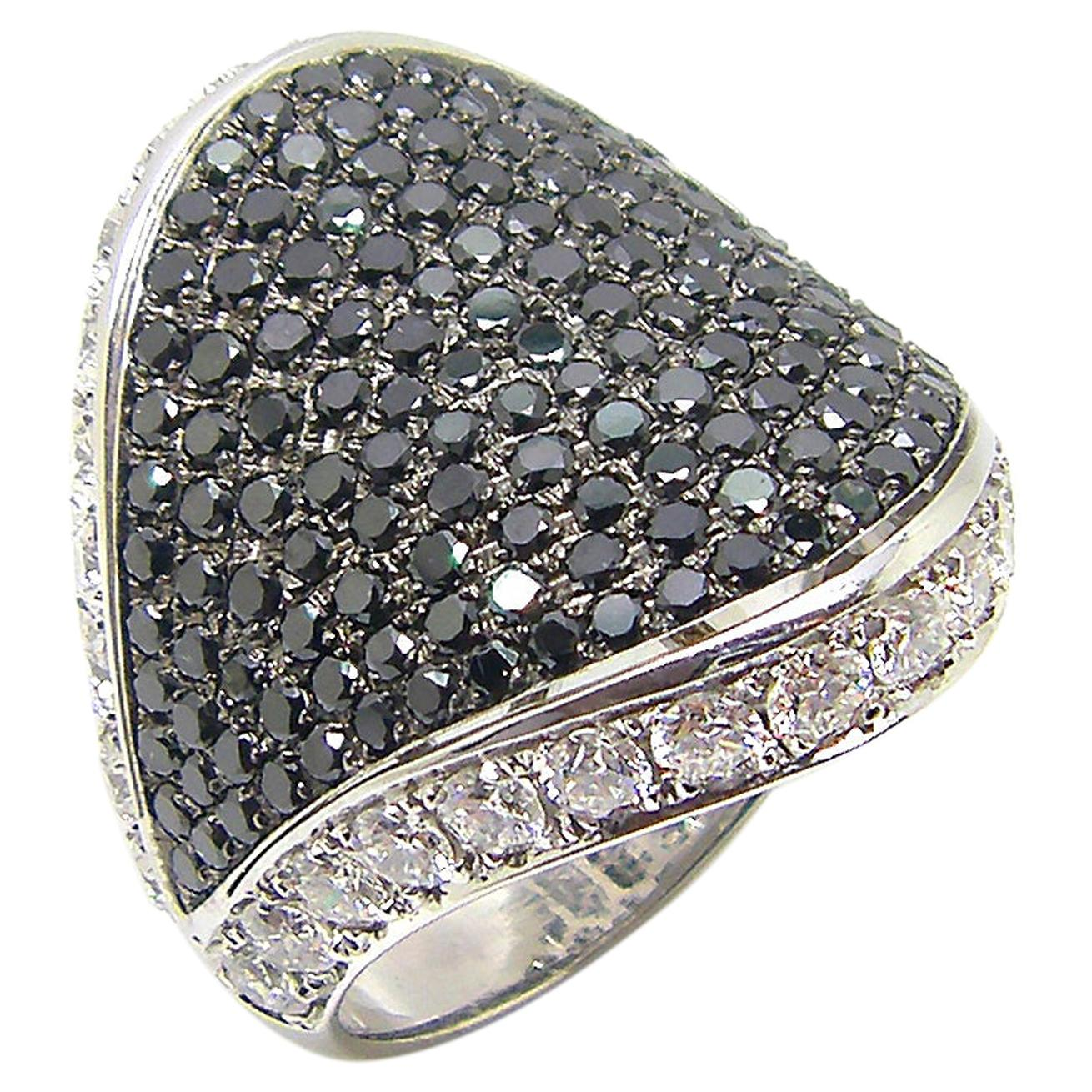 Georgios Collections 18 Karat White Gold Black and White Diamond Wide Band Ring
