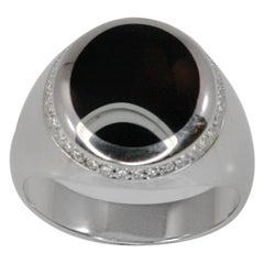 Georgios Collections 18 Karat White Gold Black Onyx and Diamond Band Ring