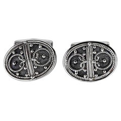 Georgios Collections 18 Karat White Gold Black Rhodium Byzantine Style Cufflink