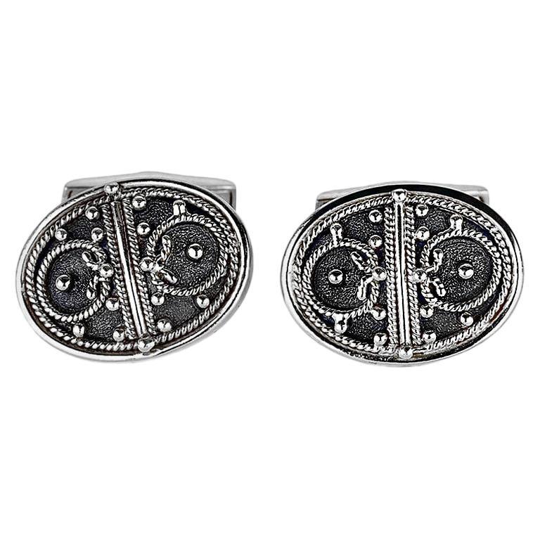 Georgios Collections 18 Karat White Gold Black Rhodium Byzantine Style Cufflink For Sale