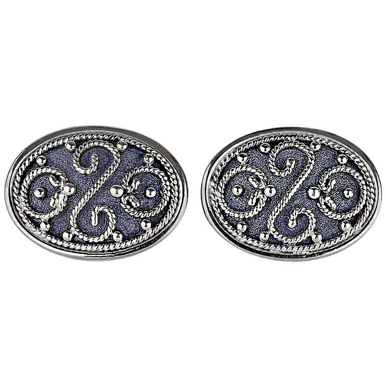 Georgios Collections 18 Karat White Gold Black Rhodium Byzantine Style Cufflink