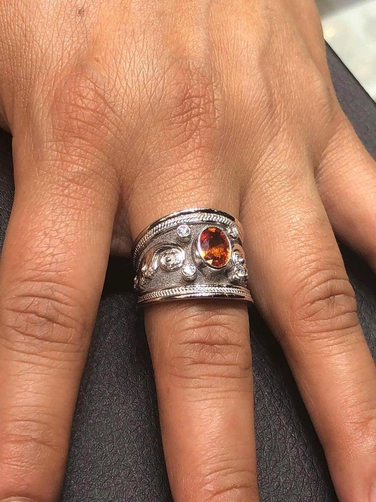 Byzantine Georgios Collections 18 Karat White Gold Black Rhodium Diamond and Sapphire Ring For Sale
