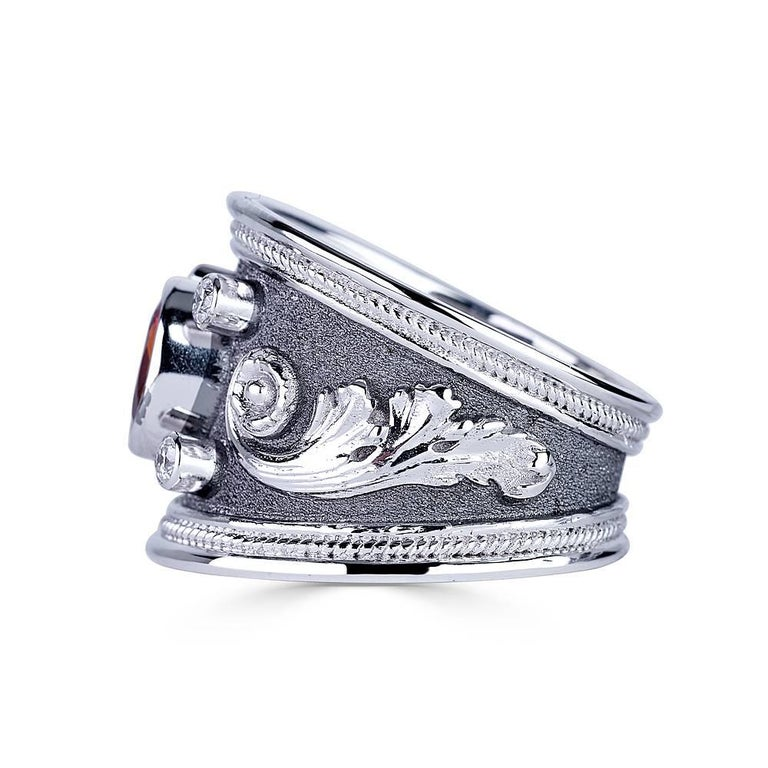 Georgios Collections 18 Karat White Gold Black Rhodium Diamond and Sapphire Ring For Sale 1