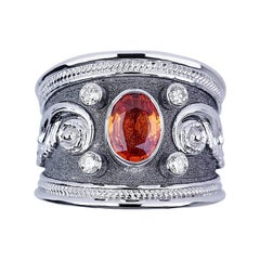 Georgios Collections 18 Karat White Gold Black Rhodium Diamond and Sapphire Ring