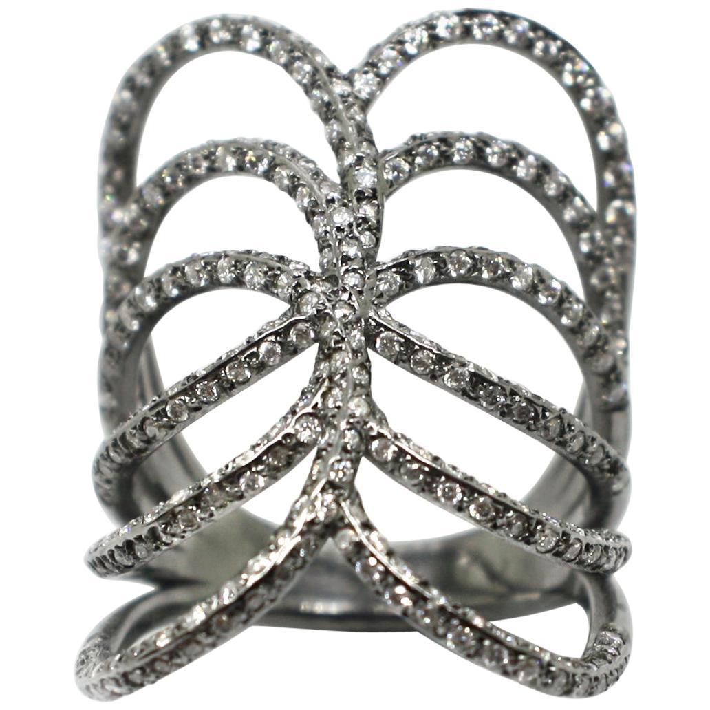 Georgios Collections 18 Karat White Gold Black Rhodium White Diamond Spiral Ring