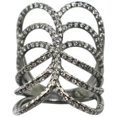 Georgios Collections 18 Karat White Gold Black Rhodium White Diamond Spiral Ring