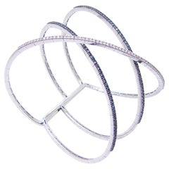 Georgios Collections 18 Karat White Gold Blue and White Diamond Cuff Bracelet