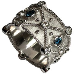 Georgios Collections 18 Karat White Gold Blue and White Diamond Granulation Ring