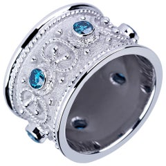 Georgios Collections 18 Karat White Gold Blue Diamond Unisex Byzantine Band Ring