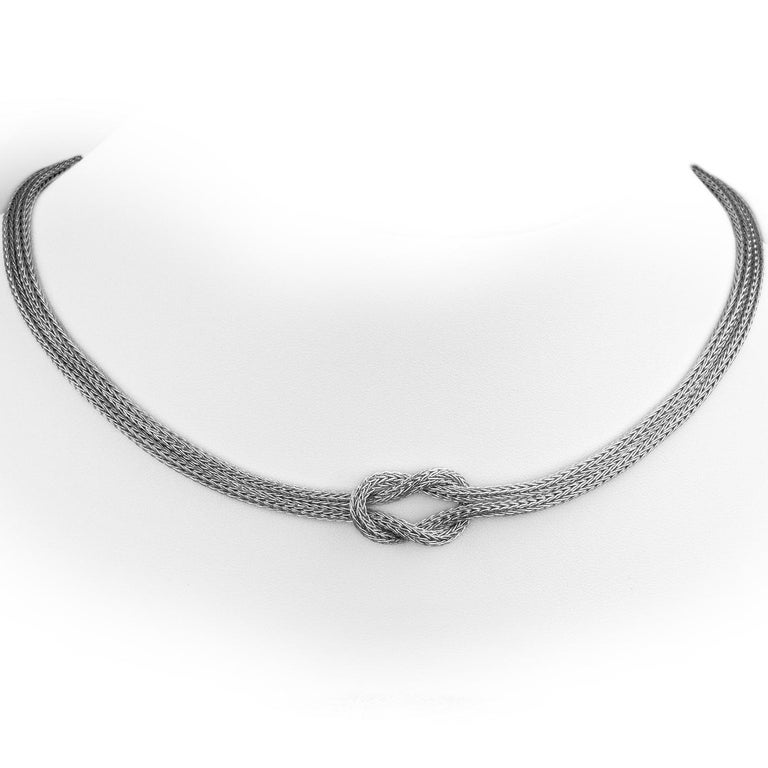 Women's Georgios Collections 18 Karat White Gold Bangle Rope Bracelet with Hercules Knot For Sale