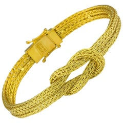 Georgios Collections 18 Karat Yellow Gold Rope Bracelet with Hercules Knot