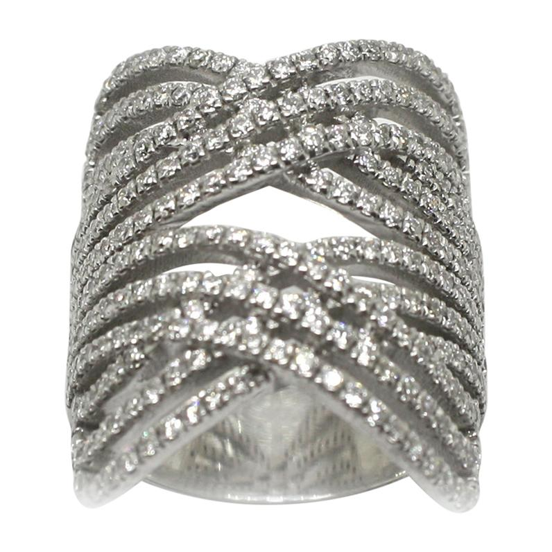 Georgios Collections 18 Karat White Gold Brilliant Cut Diamond Wide Band Ring
