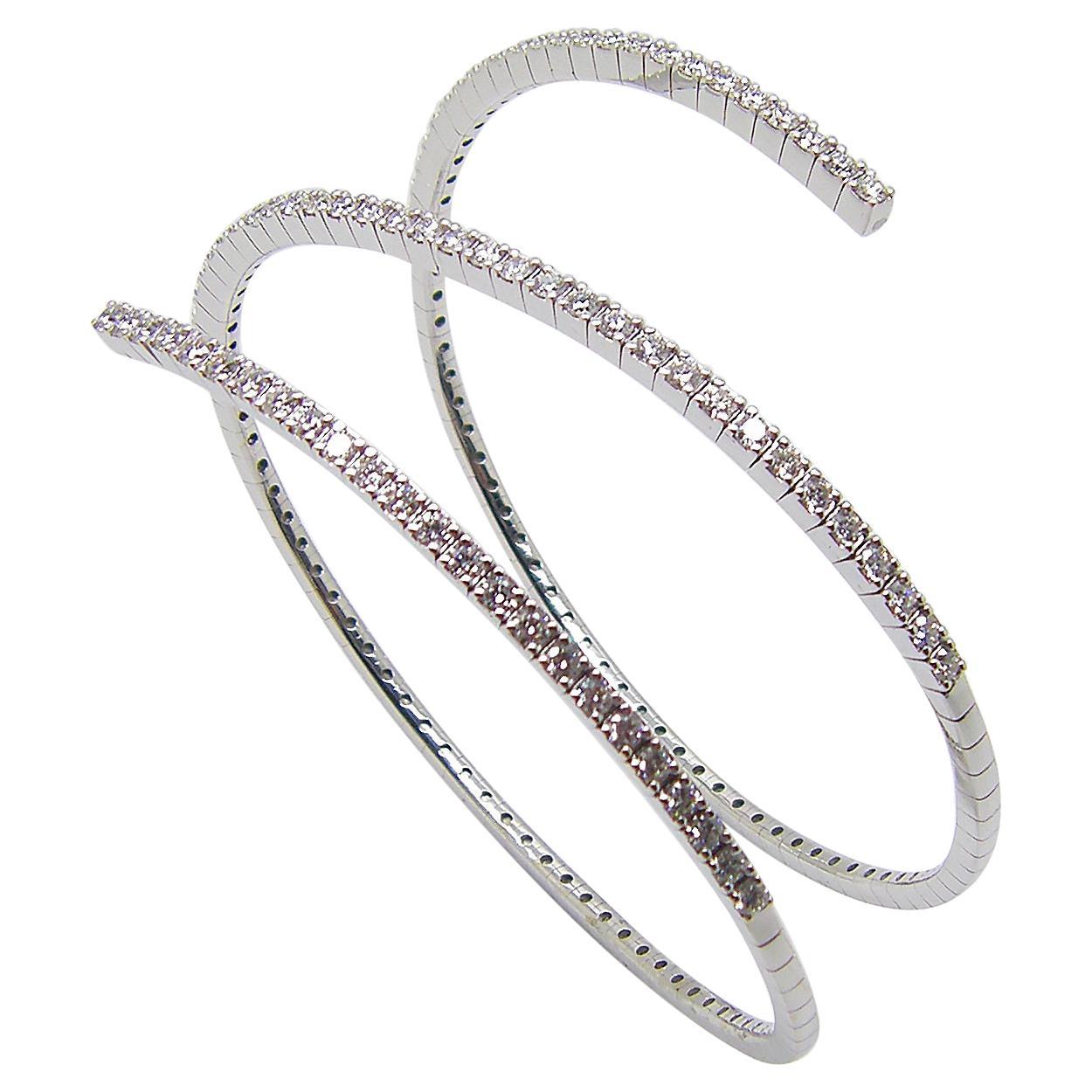 Georgios Collections 18 Karat White Gold Brilliant Cut Diamond Wrap Bracelet