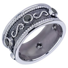 Georgios Collections 18 Karat White Gold Byzantine Ring With Black Diamonds