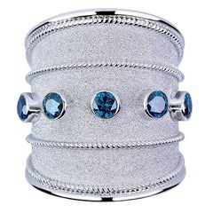 Georgios Collections 18 Karat White Gold Granulated Band Ring with Blue Diamonds