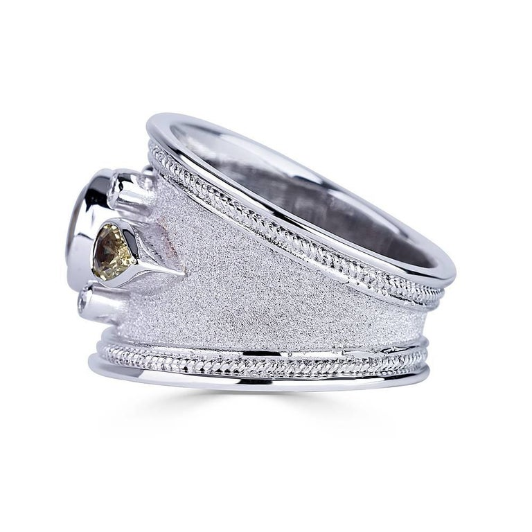 Georgios Collections 18 Karat White Gold Diamond and Green Sapphires Band Ring For Sale 1