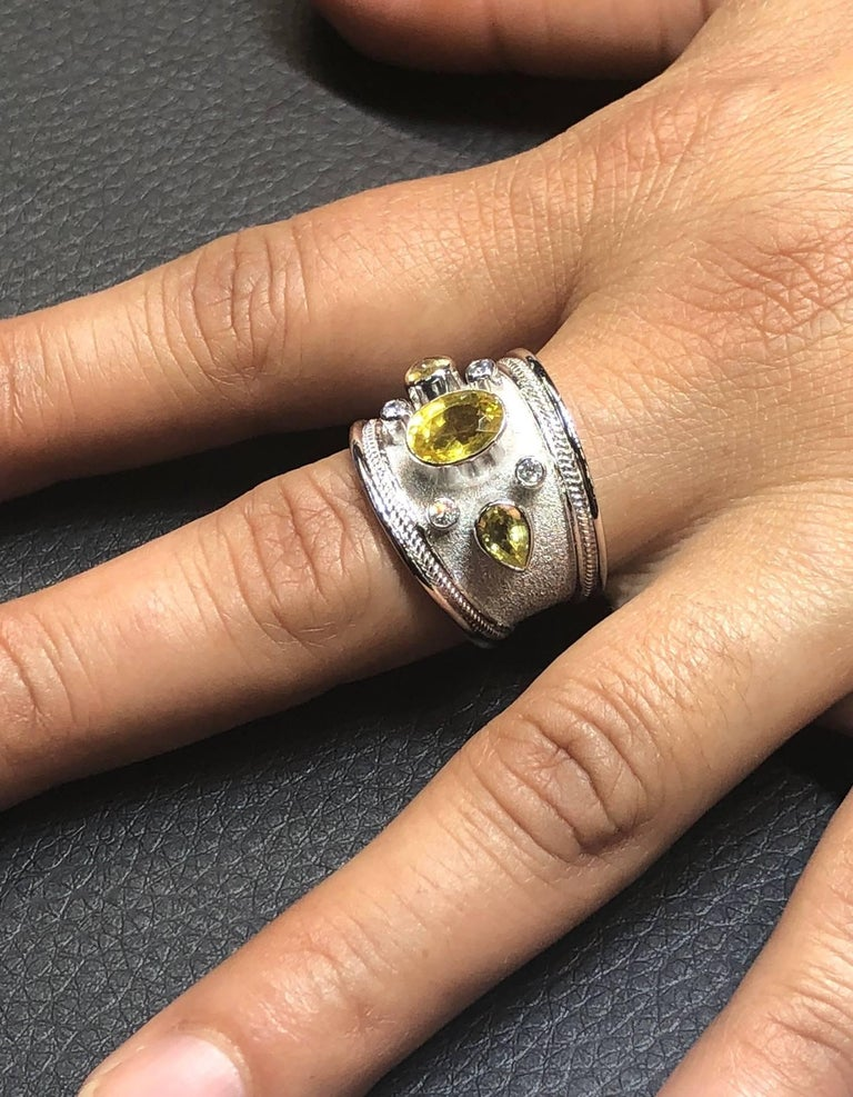Byzantine Georgios Collections 18 Karat White Gold Diamond and Green Sapphires Band Ring For Sale