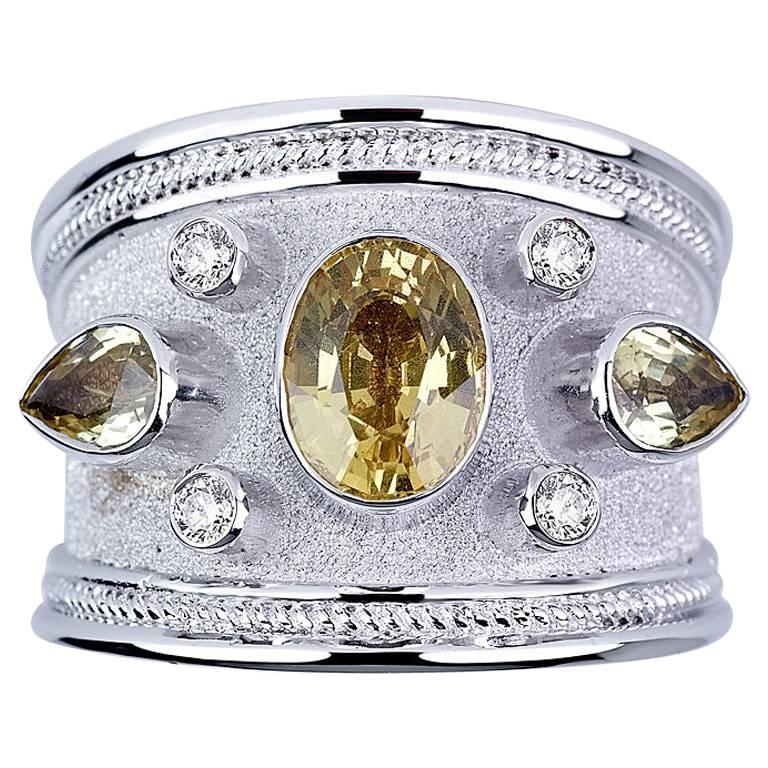 Georgios Collections 18 Karat White Gold Diamond and Green Sapphires Band Ring For Sale